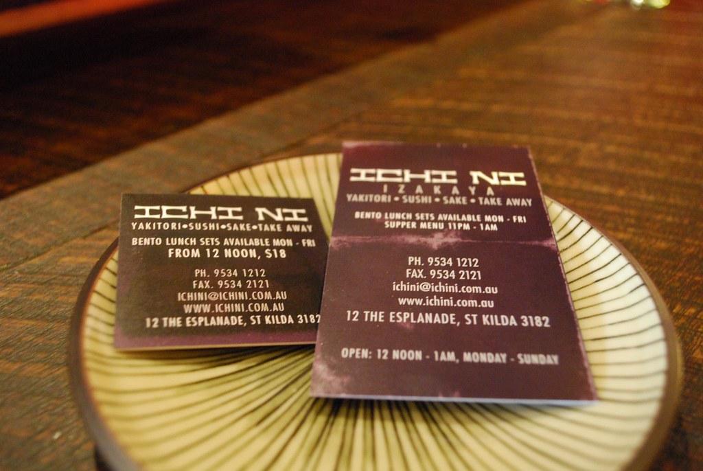 business cards back ichi ni izakaya with an. Black Bedroom Furniture Sets. Home Design Ideas
