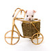 White Puppy Sitting Inside Bicycle Basket