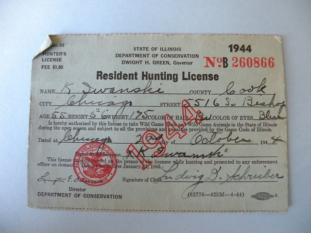 Kostanty gust iwanski 39 s 1944 illinois hunting flickr for Fishing license illinois