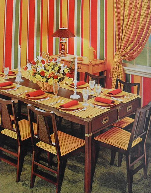 1972 striped graphic drapes dining room vintage 1970s inte for Interior design 70s style