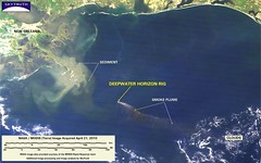 Deepwater Horizon Fire - MODIS/Terra Detail (with interpretation), April 21, 2010