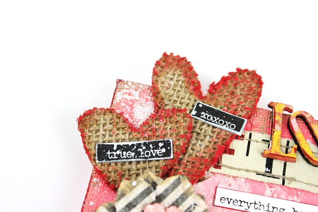 Meihsia Liu Simply Paper Crafts Mixed Media Mini Canvas Love Valentines Simon Says Stamp Monday Challenge Tim Holtz Prima Flowers 3