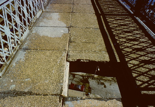 Hole in Manhattan Bridge walkway  (1980) | by stevensiegel260