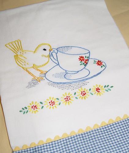 Tea time for little bird hand embroidered flour sack