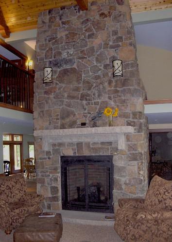 fieldstone fireplace white shelves | Antique Copper Fieldstone | This fireplace uses Buechel ...