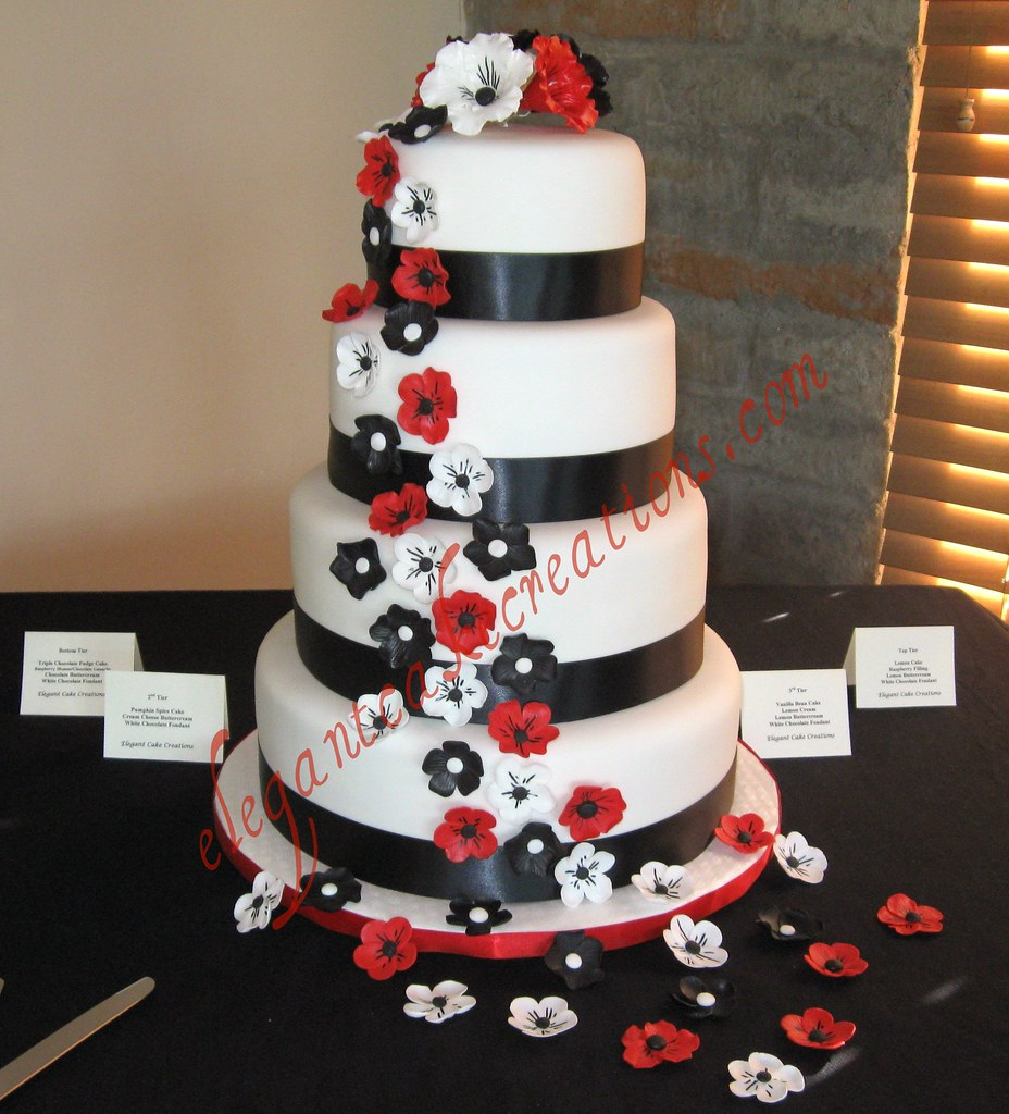 black white and red wedding cake white chocolate fondant flickr. Black Bedroom Furniture Sets. Home Design Ideas