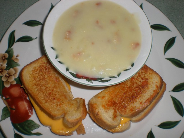 Cream of Potato and Onion soup with Bacon served with ...