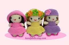 Pink Yellow Purple Crochet Dolls For The Pattern See Kan Flickr