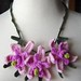 Crochet Pink Orchid Flowers Necklace