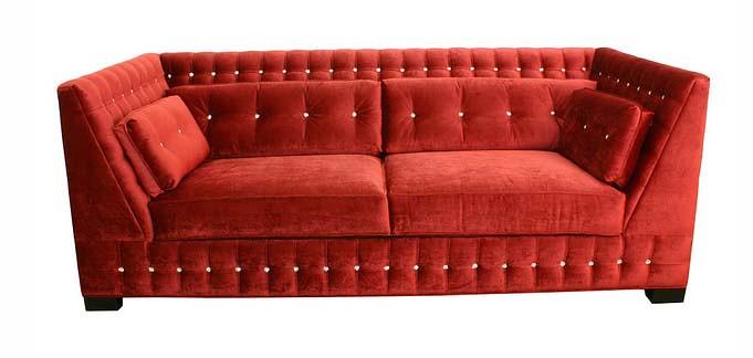 red velvet sofa. 4190 SUPER LUXE RED VELVET SOFA TUFTED WITH SWAROVSKI CRYSTALS | By Diva Rocker Glam ( Red Velvet Sofa