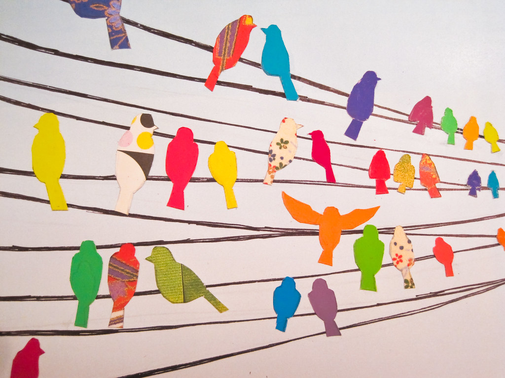 Birds on a wire i like the colors but cutting all those for Decoration murale a coller