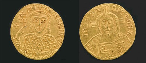 Christ as depicted in the coinage of Michael III, 842–867 Most illustrious of the Byzantine beards.