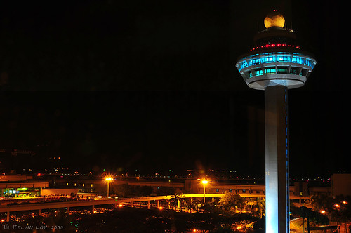 Changi Airport Control Tower At Night Night View Of