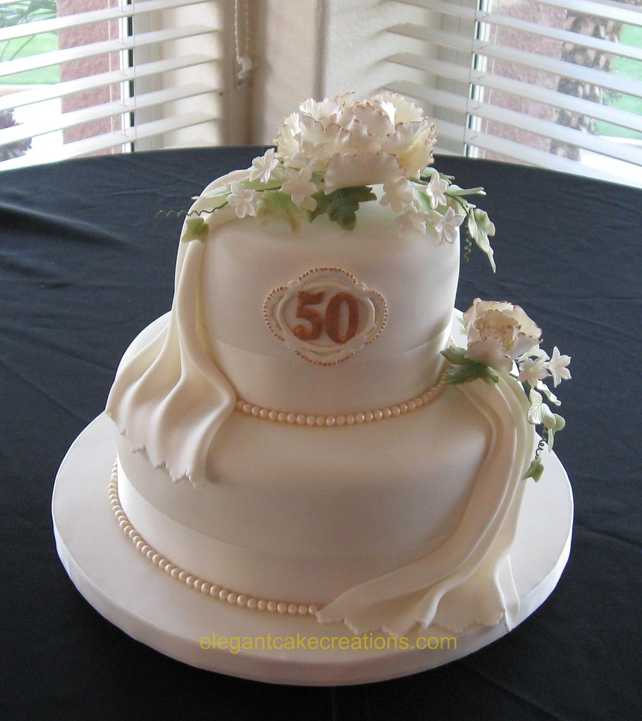 cakes for 50th wedding anniversary 50th anniversary cake colored fondant with royal 2368