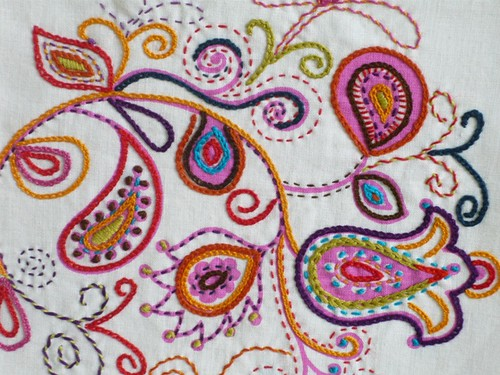 Embroidery vine on white linen hand embroidered a