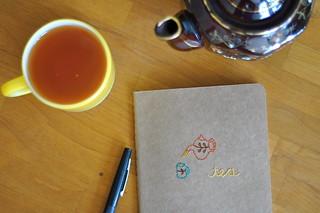embroidered journal :: tea | by flypeterfly