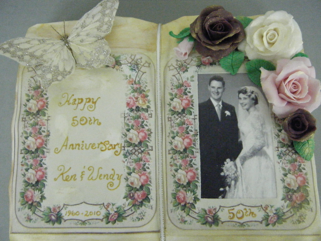50th Wedding Anniversary Book Cake