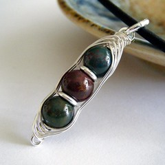 Bloodstone Peas in a Pod Pendant - Sterling Silver | by NightSkyJewelry