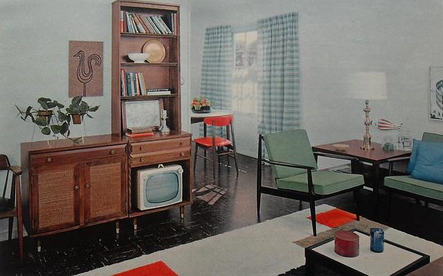 1950s modern bold solid color vintage interior design phot… | flickr