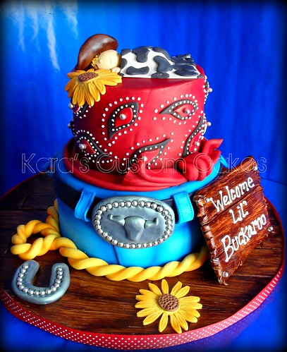 Lil' Buckaroo Baby Shower Cake | by Kara's Custom Cakes