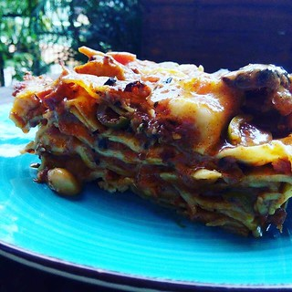 Vegan dinner - Butter Bean Pasta Al Forno - Lasagna noodle sheets dressed in layers with with tomato sauce with butter beans, green olives, peppers, garlic, red onions, capers, spices and herbs topped with homemade vegan cheese - delicious flavorful vegan | by michel.nilles