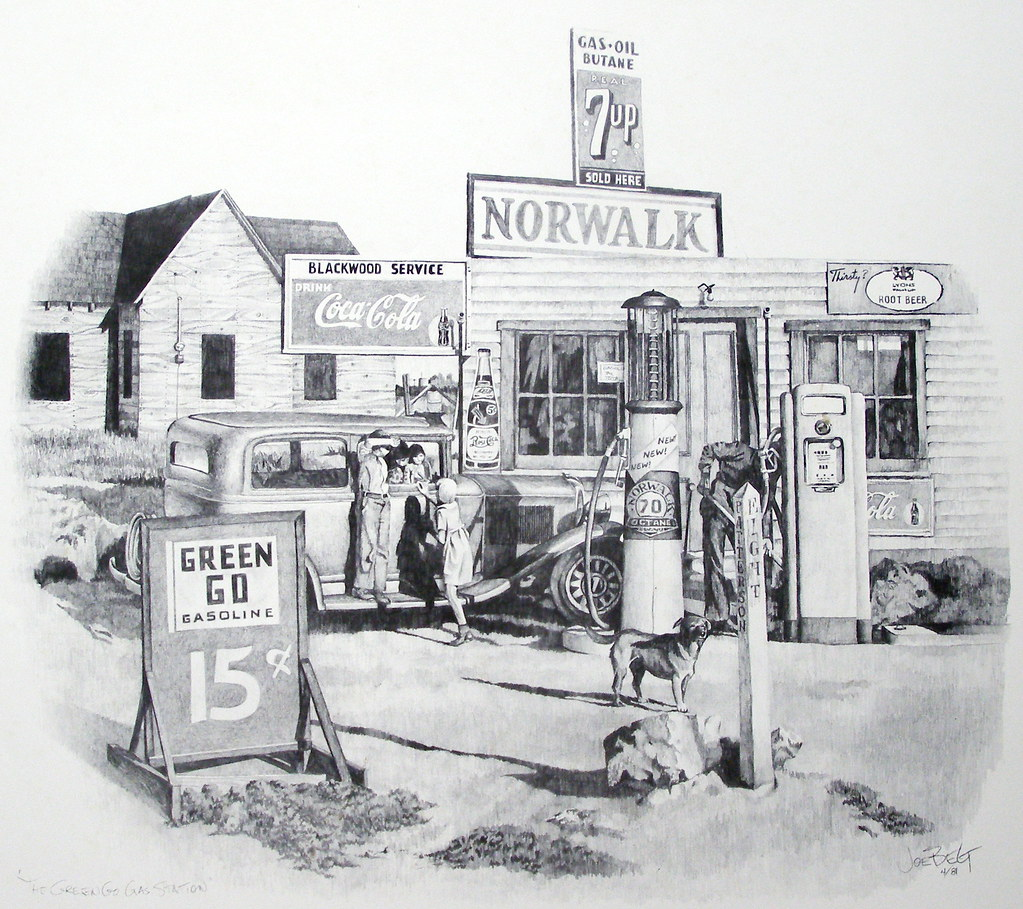 """Old Gas Station Drawing """"Green Go ..."""
