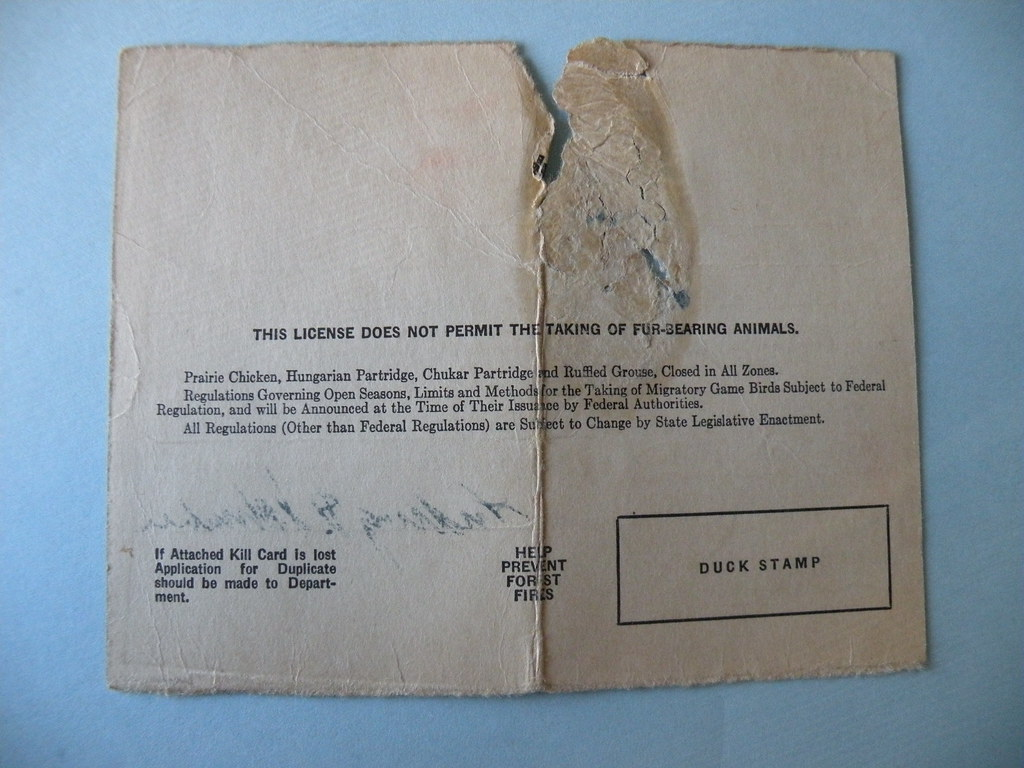 Backside of 1943 illinois hunting license john w for Fishing license illinois
