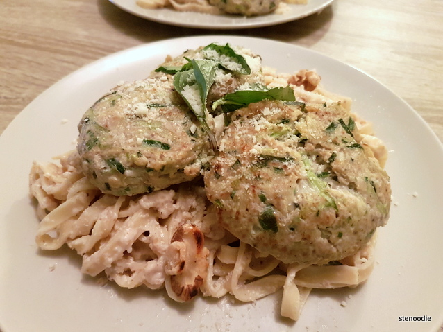 Mini Zucchini Turkey Burgers with Walnut Fettucini