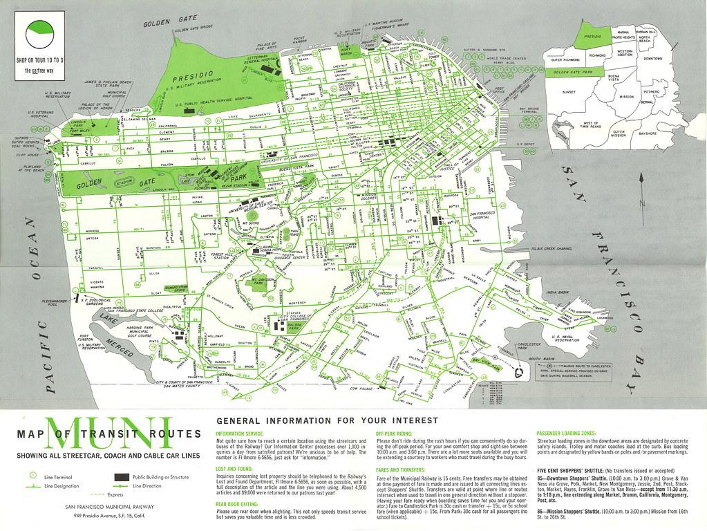 Muni Trolleys San Francisco San Francisco Muni Map of