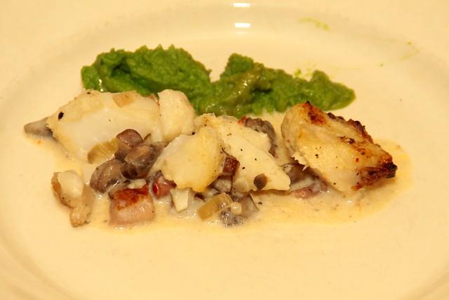 Kabeljauw met paddenstoelen en spekjes uit de oven...