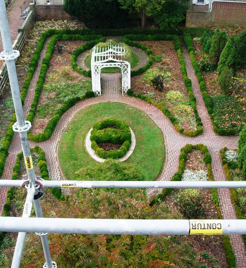 birds eye view of flower garden from scaffold perch by delaware historical society - Garden Design Birds Eye View