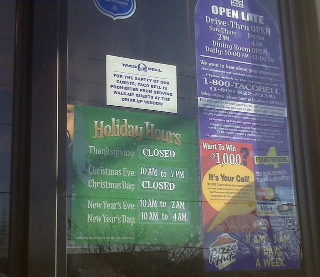 taco bell holiday schedule