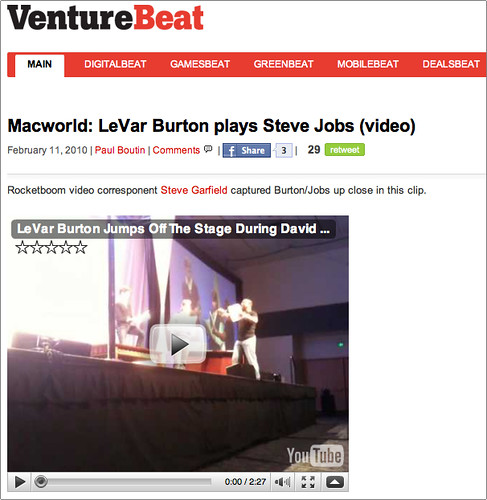 VentureBeat: Macworld: LeVar Burton plays Steve Jobs (video) | by stevegarfield