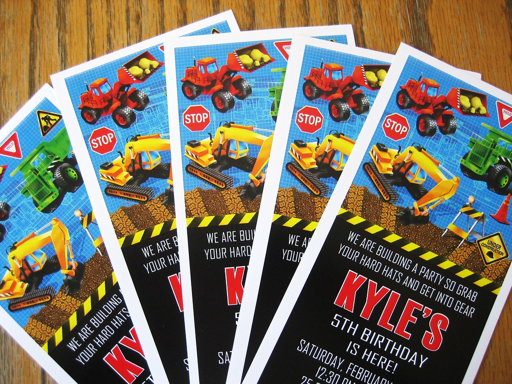 Construction birthday invitations construction party for R b party decorations