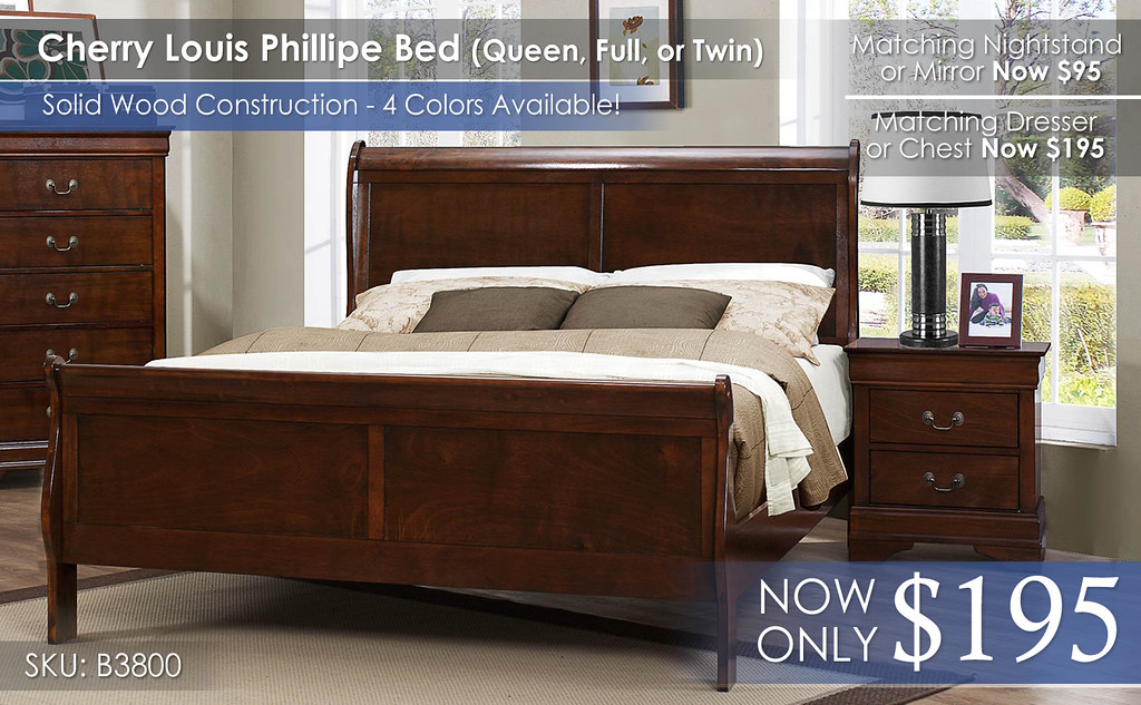 Homelegance Cherry Louis Phillipe 3800 Bed Only