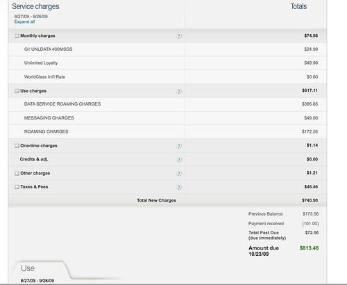 tmobile  813 phone bill from september