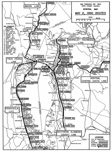 San Francisco Bay Area Rapid Transit District: General Map: May 2, 1960 Routes | by Eric Fischer