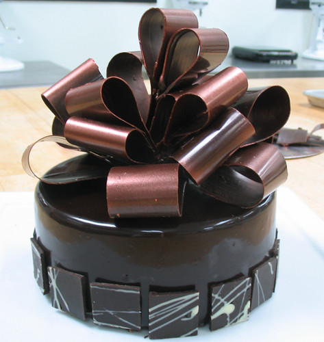 chocolate mousse cake with chocolate decorations