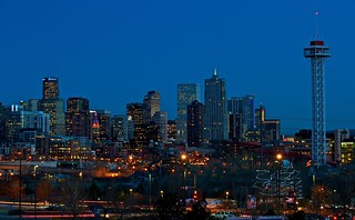 Denver Skyline at Sunset | by Larry Johnson