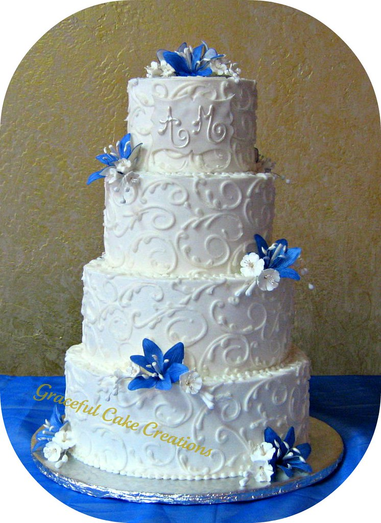 Elegant Blue And White Wedding Cake Grace Tari Flickr
