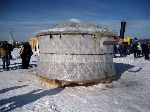 Yurt ice fishing house this bubble wrapped structure for Ice fishing house parts