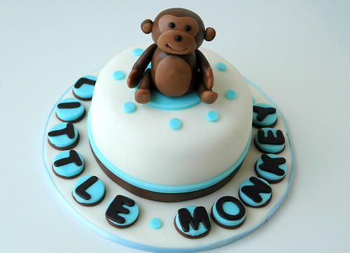 Mini cake for monkey themed baby shower this is a 4 inch m flickr - Baby shower cakes monkey theme ...