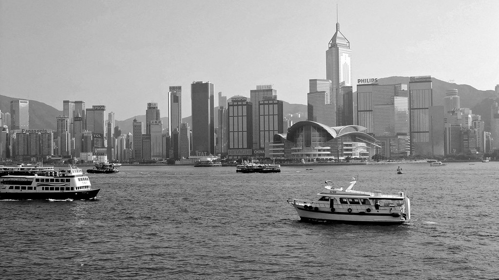 hong kong view of the wanchai area in black and white hon