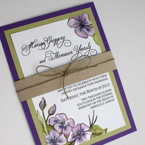 Purple And Green Floral Wedding Invitation Set With Bell