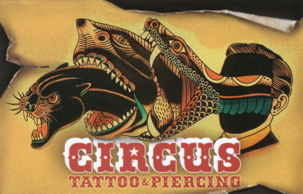 Deno circus tattoo business card for Business card size tattoos