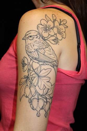 Bird w/ Cherry Blossoms and Bleeding Hearts (Done, For Now...) | by Shannon Archuleta