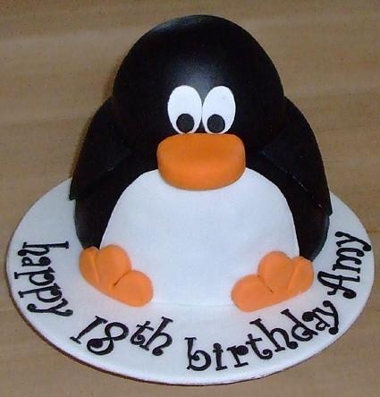 Penguin Novelty Birthday Cake Happy 18th Cake For A
