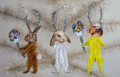 Vintage Style Chenille Easter Ornaments | by oldworldprimitives