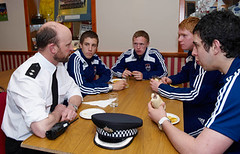 Inspector Matthew Reiss with Ross County players | by Northern Constabulary