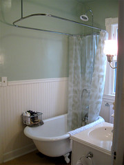refinished clawfoot tub with shower kit it took 13 months flickr. Black Bedroom Furniture Sets. Home Design Ideas